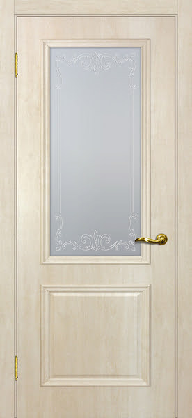 Межкомнатная дверь SK012 (экошпон «дуб млечный » / матовое стекло)