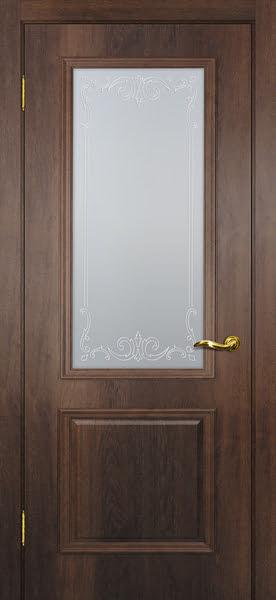 Межкомнатная дверь SK012 (экошпон «дуб коньяк» / матовое стекло)