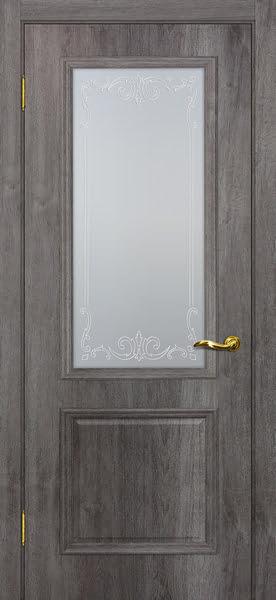 Межкомнатная дверь SK012 (экошпон «трюфель» / матовое стекло)