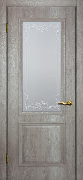 Межкомнатная дверь SK012 (экошпон «трюфель светлый» / матовое стекло)