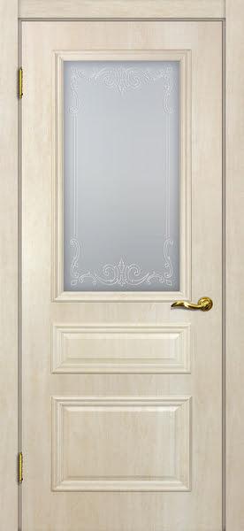 Межкомнатная дверь SK013 (экошпон «дуб млечный » / матовое стекло)