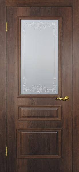 Межкомнатная дверь SK013 (экошпон «дуб коньяк» / матовое стекло)