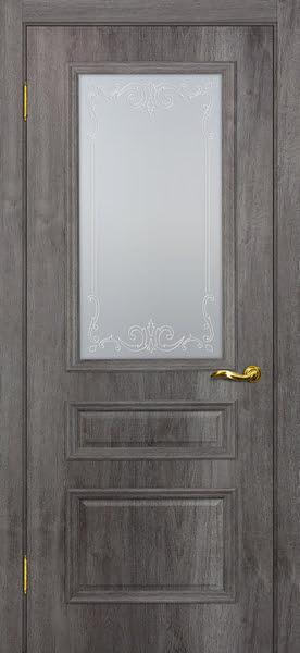 Межкомнатная дверь SK013 (экошпон «трюфель» / матовое стекло)