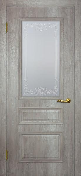 Межкомнатная дверь SK013 (экошпон «трюфель светлый» / матовое стекло)