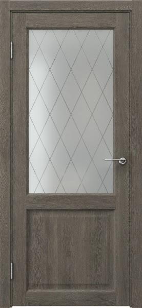Межкомнатная дверь FK004 (экошпон «серый дуб» / матовое стекло ромб)