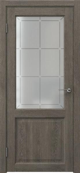 Межкомнатная дверь FK004 (экошпон «серый дуб» / стекло решетка)