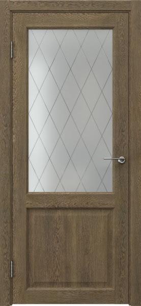 Межкомнатная дверь FK004 (экошпон «дуб антик» / матовое стекло ромб)