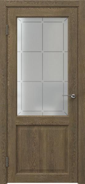 Межкомнатная дверь FK004 (экошпон «дуб антик» / стекло решетка)