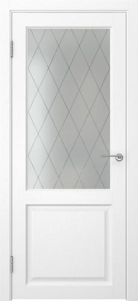 Межкомнатная дверь FK004 (экошпон «ясень белый» / матовое стекло ромб)