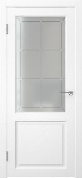 Межкомнатная дверь FK004 (экошпон «ясень белый» / стекло решетка)