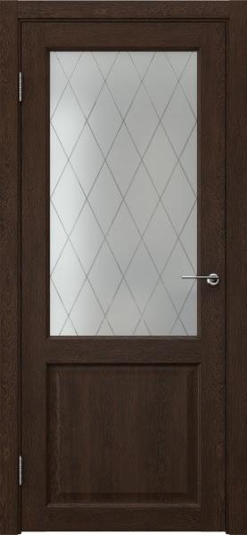 Межкомнатная дверь FK004 (экошпон «дуб шоколад» / матовое стекло ромб)