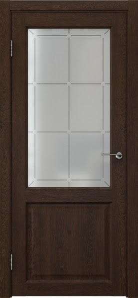 Межкомнатная дверь FK004 (экошпон «дуб шоколад» / стекло решетка)