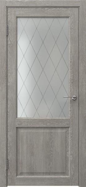 Межкомнатная дверь FK004 (экошпон «дымчатый дуб» / матовое стекло ромб)