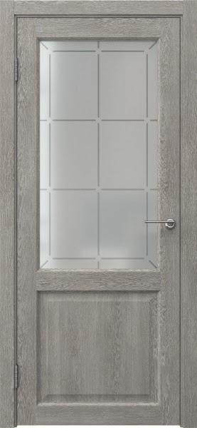 Межкомнатная дверь FK004 (экошпон «дымчатый дуб» / стекло решетка)