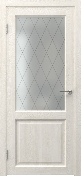 Межкомнатная дверь FK004 (экошпон «белый дуб» / матовое стекло ромб)