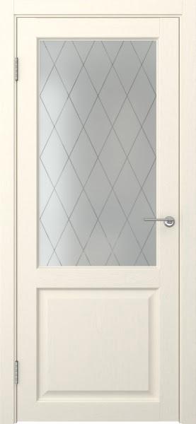 Межкомнатная дверь FK004 (экошпон «ваниль» / матовое стекло ромб)