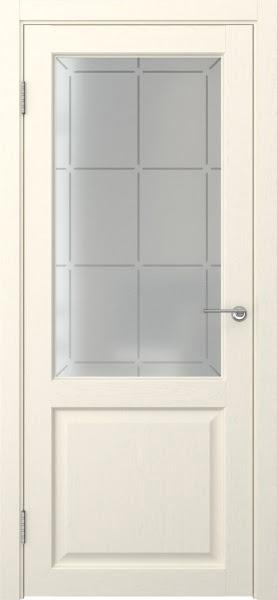 Межкомнатная дверь FK004 (экошпон «ваниль» / стекло решетка)