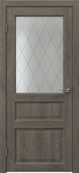 Межкомнатная дверь FK005 (экошпон «серый дуб» / матовое стекло ромб)
