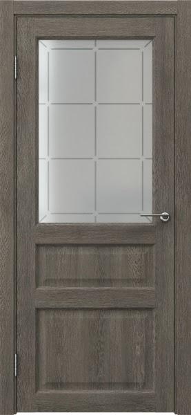Межкомнатная дверь FK005 (экошпон «серый дуб» / стекло решетка)
