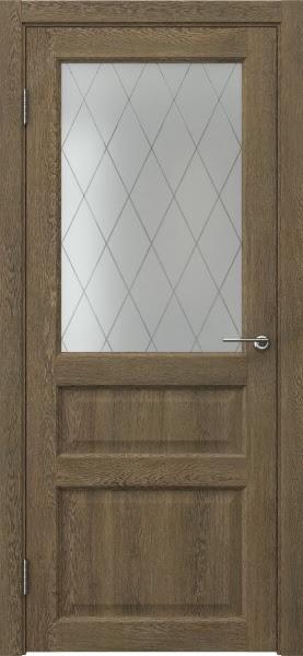 Межкомнатная дверь FK005 (экошпон «дуб антик» / матовое стекло ромб)