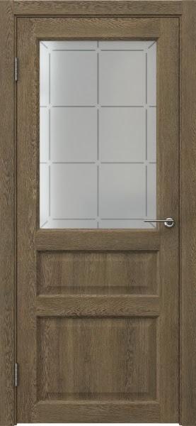 Межкомнатная дверь FK005 (экошпон «дуб антик» / стекло решетка)