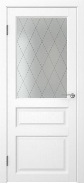 Межкомнатная дверь FK005 (экошпон «ясень белый» / матовое стекло ромб)