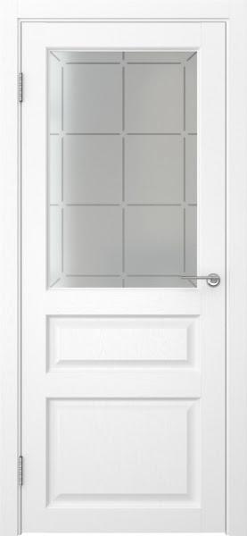 Межкомнатная дверь FK005 (экошпон «ясень белый» / стекло решетка)