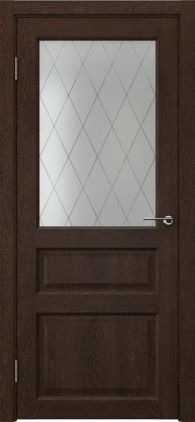 Межкомнатная дверь FK005 (экошпон «дуб шоколад» / матовое стекло ромб)