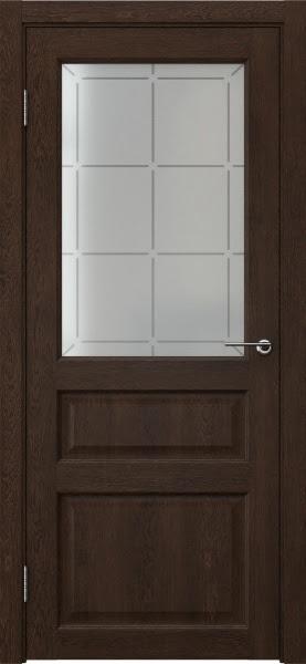 Межкомнатная дверь FK005 (экошпон «дуб шоколад» / стекло решетка)