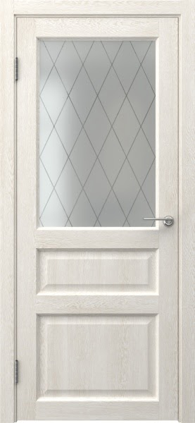 Межкомнатная дверь FK005 (экошпон «белый дуб» / матовое стекло ромб)