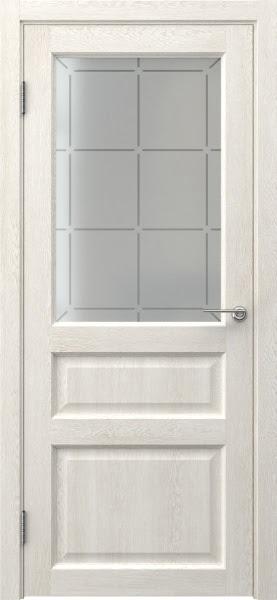 Межкомнатная дверь FK005 (экошпон «белый дуб» / стекло решетка)