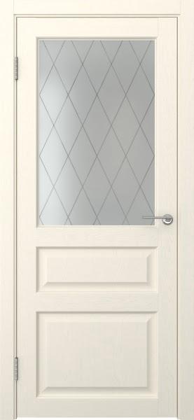 Межкомнатная дверь FK005 (экошпон «ваниль» / матовое стекло ромб)