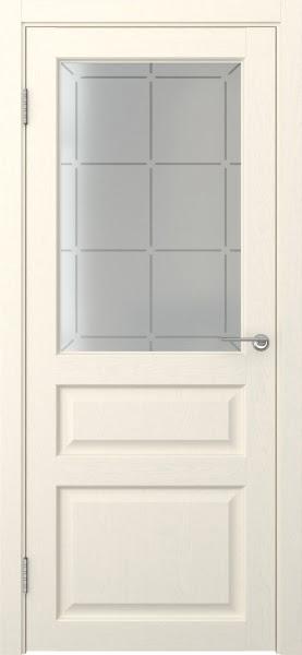 Межкомнатная дверь FK005 (экошпон «ваниль» / стекло решетка)