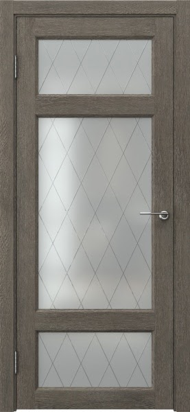 Межкомнатная дверь FK006 (экошпон «серый дуб» / матовое стекло ромб)