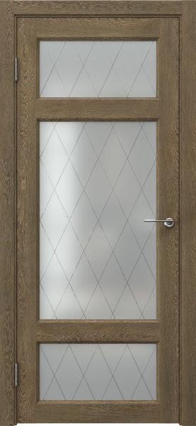 Межкомнатная дверь FK006 (экошпон «дуб антик» / матовое стекло ромб)