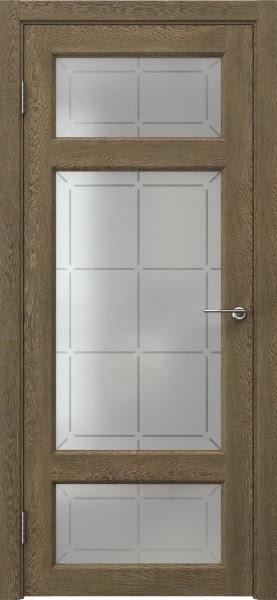 Межкомнатная дверь FK006 (экошпон «дуб антик» / стекло решетка)
