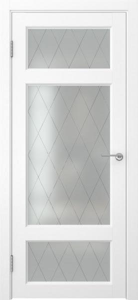 Межкомнатная дверь FK006 (экошпон «ясень белый» / матовое стекло ромб)