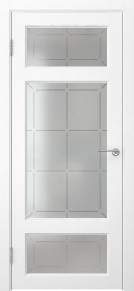Межкомнатная дверь FK006 (экошпон «ясень белый» / стекло решетка)