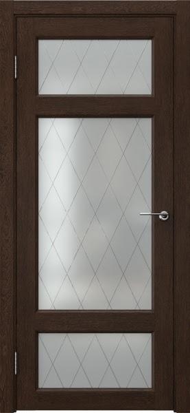Межкомнатная дверь FK006 (экошпон «дуб шоколад» / матовое стекло ромб)