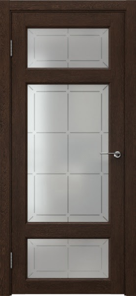 Межкомнатная дверь FK006 (экошпон «дуб шоколад» / стекло решетка)