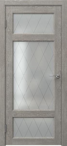 Межкомнатная дверь FK006 (экошпон «дымчатый дуб» / матовое стекло ромб)