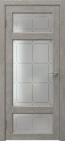 Межкомнатная дверь FK006 (экошпон «дымчатый дуб» / стекло решетка)