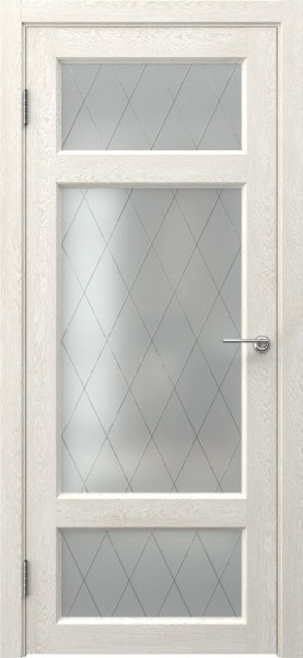 Межкомнатная дверь FK006 (экошпон «белый дуб» / матовое стекло ромб)