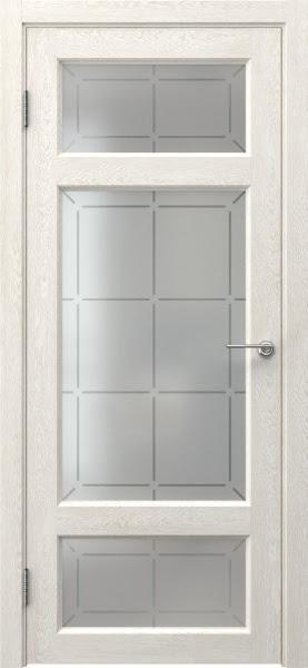 Межкомнатная дверь FK006 (экошпон «белый дуб» / стекло решетка)