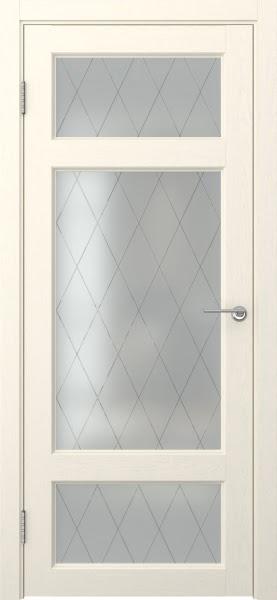 Межкомнатная дверь FK006 (экошпон «ваниль» / матовое стекло ромб)