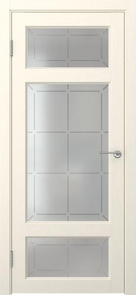 Межкомнатная дверь FK006 (экошпон «ваниль» / стекло решетка)