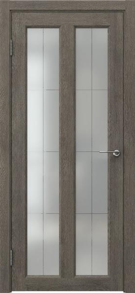 Межкомнатная дверь FK007 (экошпон «серый дуб» / стекло решетка полимер)