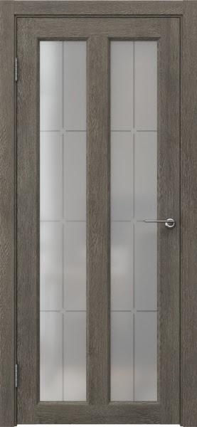 Межкомнатная дверь FK007 (экошпон «серый дуб» / стекло решетка)
