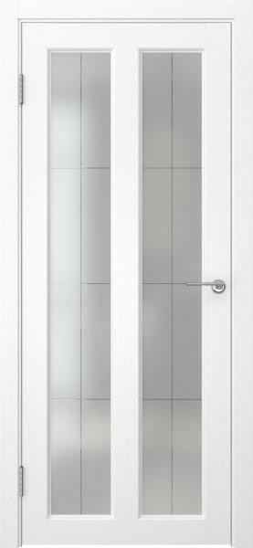 Межкомнатная дверь FK007 (экошпон «ясень белый» / стекло решетка полимер)