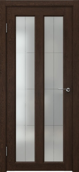 Межкомнатная дверь FK007 (экошпон «дуб шоколад» / стекло решетка полимер)